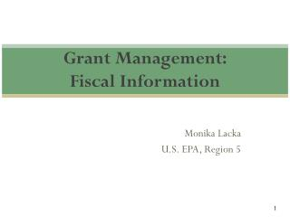 Grant Management:  Fiscal Information
