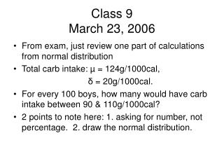 Class 9 March 23, 2006