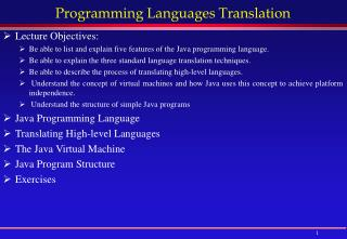 Programming Languages Translation