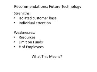 Recommendations: Future Technology