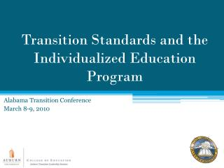 Transition Standards and the Individualized Education Program