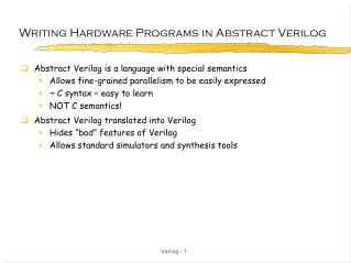 Writing Hardware Programs in Abstract Verilog