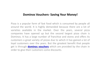 Dominos Vouchers- Saving Your Money!