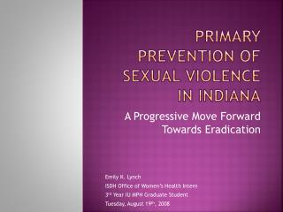 Primary Prevention of Sexual Violence in Indiana