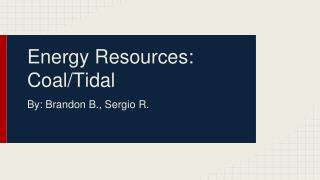 Energy Resources: Coal/Tidal