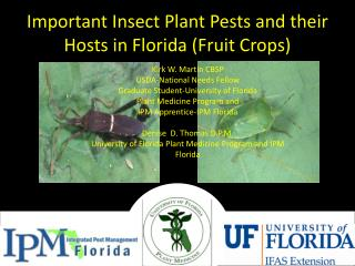 Important Insect Plant Pests and their Hosts in Florida (Fruit Crops)
