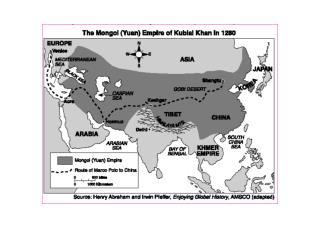 The information provided by the map indicates that in 1280 the Mongols controlled