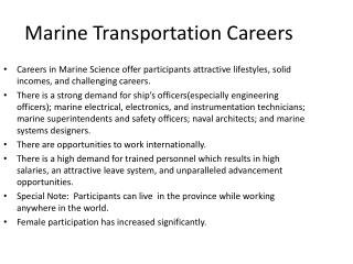 Marine Transportation Careers