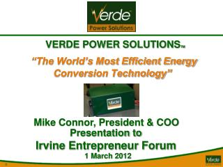 """The World's Most Efficient Energy Conversion Technology"""