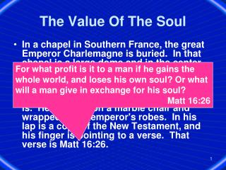 The Value Of The Soul