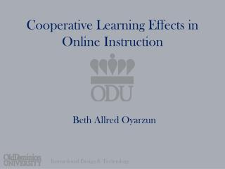 Cooperative Learning Effects in Online Instruction