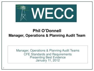 Phil O'Donnell Manager, Operations & Planning Audit Team