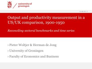 Output and productivity measurement in a US/UK comparison, 1900-1950