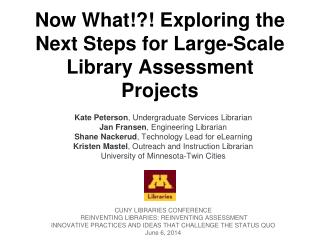 Now What!?! Exploring the Next Steps for Large-Scale Library Assessment Projects