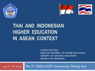 Thai  and   indonesian  higher  education  in   asean   CONTEXT