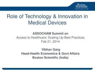Role of Technology & Innovation in  Medical Devices
