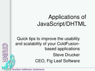 Applications of JavaScript/DHTML