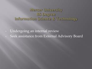 Mercer University BS Degree  Information Science & Technology