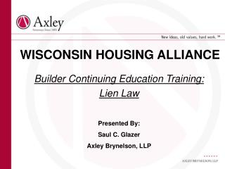 WISCONSIN HOUSING ALLIANCE
