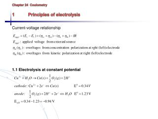 Chapter 24   Coulometry 1	Principles of electrolysis