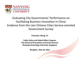 Evaluating City Governments' Performance on Facilitating Business Innovation in China: