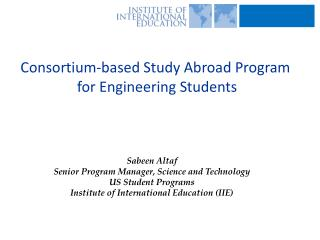 Consortium-based Study Abroad Program  for Engineering Students
