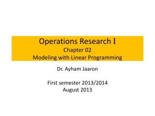 Operations Research  I Chapter 02 Modeling with Linear Programming
