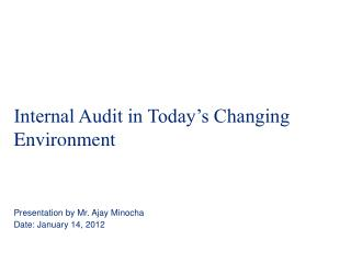 Internal Audit in Today's Changing Environment