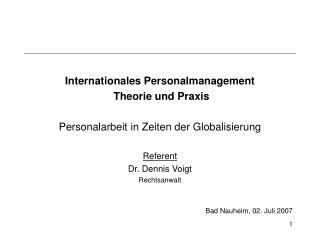 Internationales Personalmanagement  Theorie und Praxis