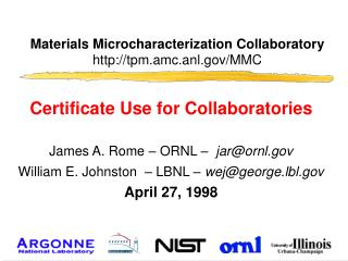 Materials Microcharacterization Collaboratory tpm.amc.anl/MMC