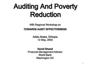 Auditing And Poverty Reduction