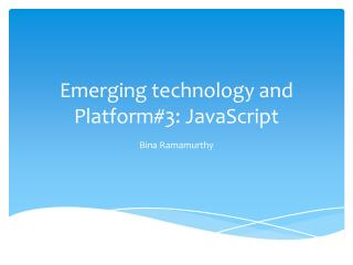 Emerging technology and Platform#3:  JavaScript