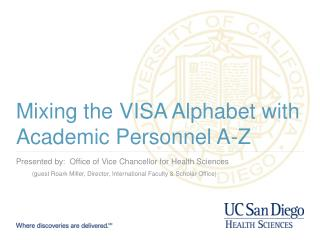 Mixing the VISA Alphabet with Academic Personnel A-Z