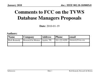 Comments to FCC on the TVWS Database Managers Proposals