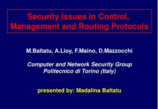 Security Issues in Control,  Management and Routing Protocols