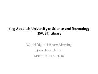 King Abdullah University of Science and Technology (KAUST) Library