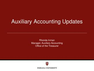 Auxiliary Accounting Updates