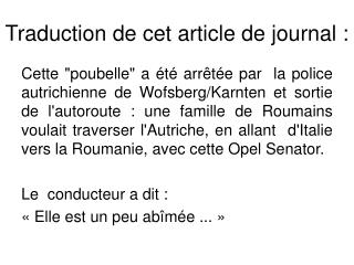 Traduction de cet article de journal :