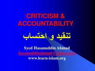 CRITICISM & ACCOUNTABILITY