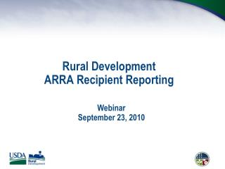 Rural Development ARRA Recipient Reporting