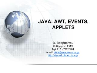 JAVA: AWT, EVENTS, APPLETS
