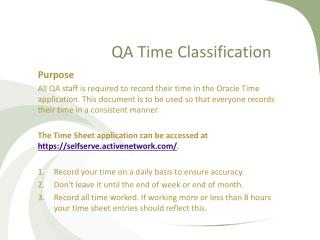 QA Time Classification
