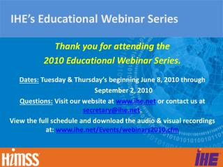 IHE's Educational Webinar Series
