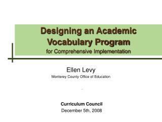 Designing an Academic Vocabulary Program for Comprehensive Implementation