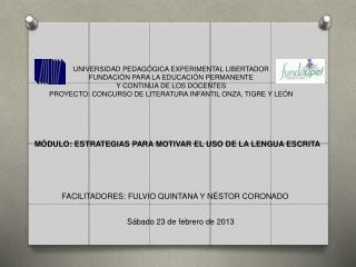 UNIVERSIDAD PEDAGÓGICA EXPERIMENTAL LIBERTADOR FUNDACIÓN PARA LA EDUCACIÓN PERMANENTE