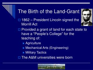 The Birth of the Land-Grant