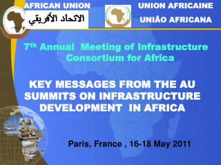 KEY MESSAGES FROM THE AU SUMMITS ON  INFRASTRUCTURE DEVELOPMENT  IN AFRICA