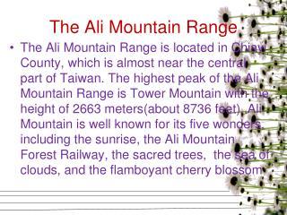 The Ali Mountain Range