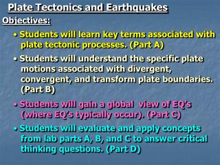 Plate Tectonics and Earthquakes