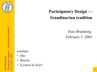 Participatory Design — Scandinavian tradition